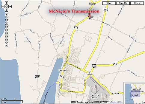 Map to McNicol Transmission and Performance, Hebron, Nova Scotia